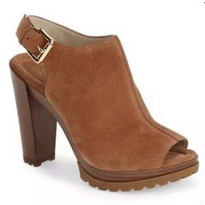 Michael Kors Flynn Brown Suede Sandal Mule 9.5